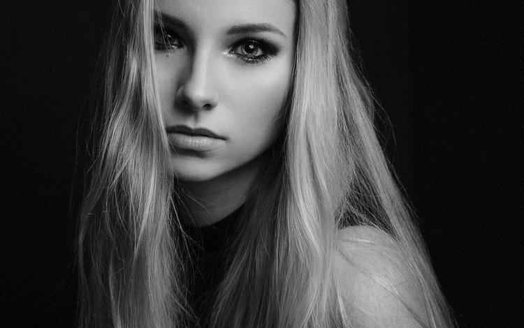 девушка, фон, портрет, чёрно-белое, модель, волосы, лицо, girl, background, portrait, black and white, model, hair, face