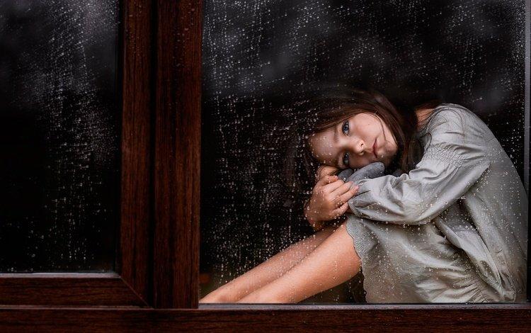капли, окно, грусть, стекло, взгляд, дети, девочка, дождь, волосы, лицо, drops, window, sadness, glass, look, children, girl, rain, hair, face