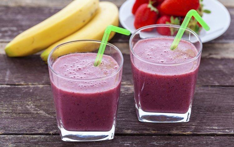 напиток, клубника, банан, смузи, drink, strawberry, banana, smoothies