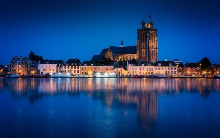 night, lights, river, church, netherlands, holland