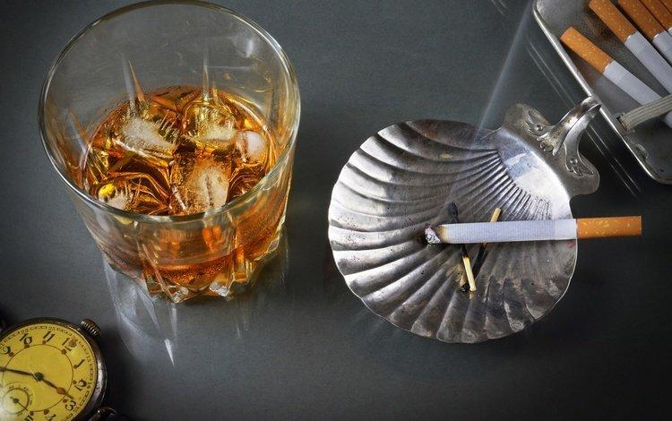 style, vintage, retro, smoke, watch, ashtray, glass, alcohol, cigarette, whiskey