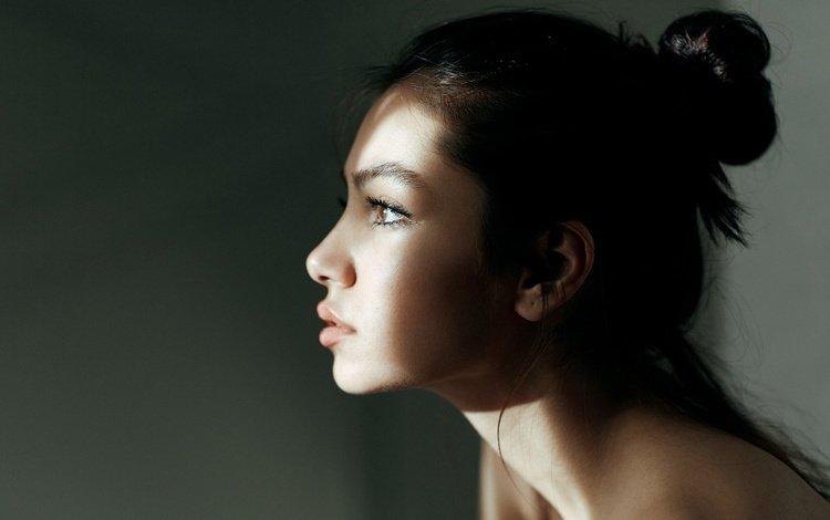light, girl, portrait, look, profile, face