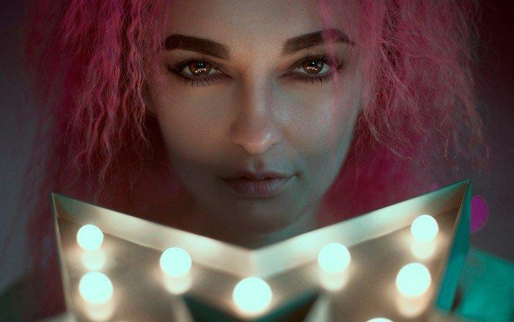 девушка, портрет, взгляд, волосы, лицо, розовые волосы, girl, portrait, look, hair, face, pink hair