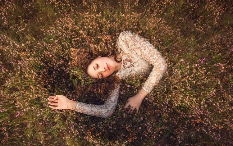flowers, nature, girl, dress, sleep