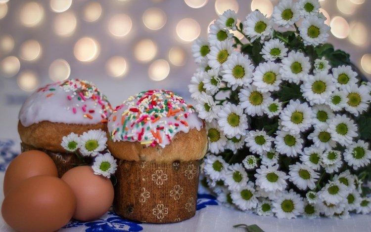 цветы, весна, пасха, яйца, хризантемы, кулич, flowers, spring, easter, eggs, chrysanthemum, cake