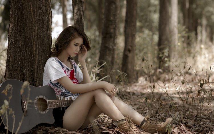 деревья, девушка, настроение, гитара, взгляд, азиатка, trees, girl, mood, guitar, look, asian