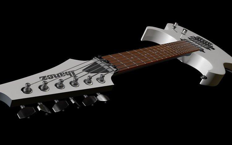 гитара, гриф, струны, инструмент, черный фон, guitar, grif, strings, tool, black background