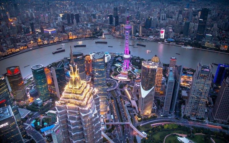 огни, дома, вечер, китай, река, катера, корабли, панорама, небоскребы, шанхай, мегаполис, lights, home, the evening, china, river, boats, ships, panorama, skyscrapers, shanghai, megapolis