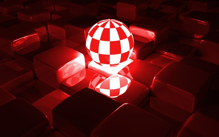 отражение, свечение, сфера, кубики, шар, грани, 3д, reflection, glow, sphere, cubes, ball, faces, 3d