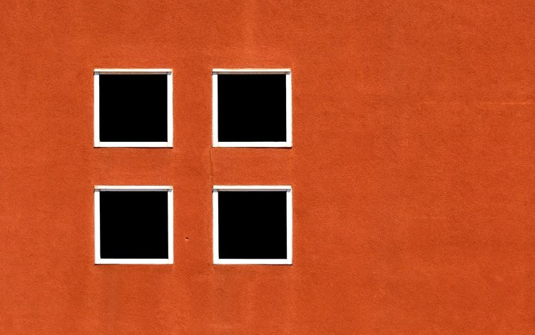 стена, окна, оранжевая, wall, windows, orange