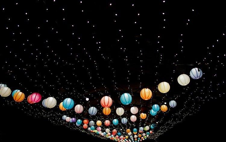 свет, ночь, черный фон, праздник, гирлянда, фонарики, light, night, black background, holiday, garland, lanterns