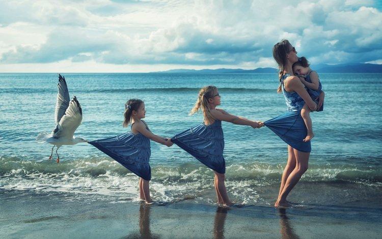 shore, children, seagull, surf, girls, mom