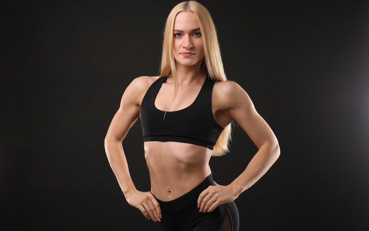 girl, blonde, figure, fitness