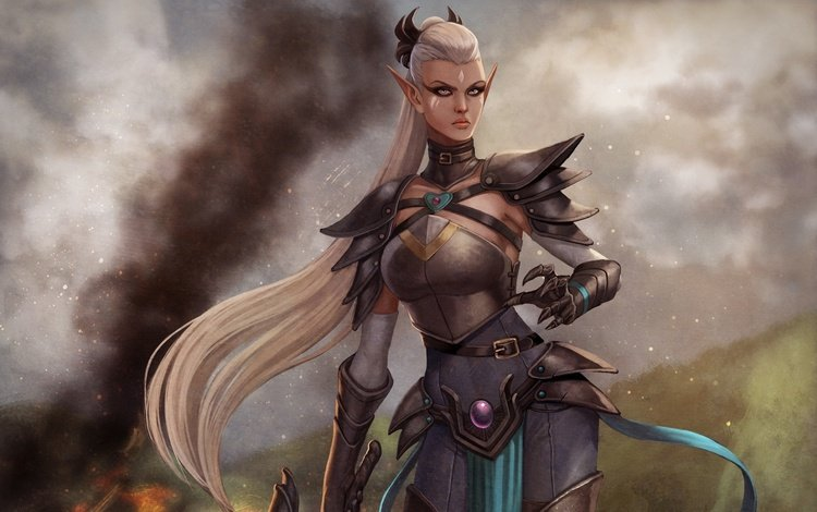 девушка, воин, взгляд, огонь, дым, эльф, girl, warrior, look, fire, smoke, elf