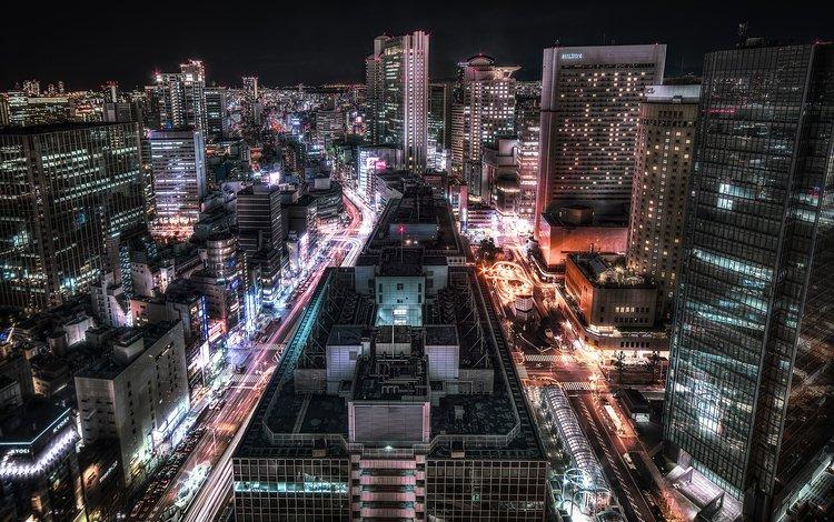дорога, огни, неон, япония, небоскребы, архитектура, осака, road, lights, neon, japan, skyscrapers, architecture, osaka