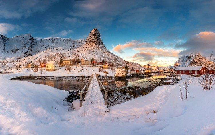горы, снег, зима, норвегия, поселение, mountains, snow, winter, norway, settlement