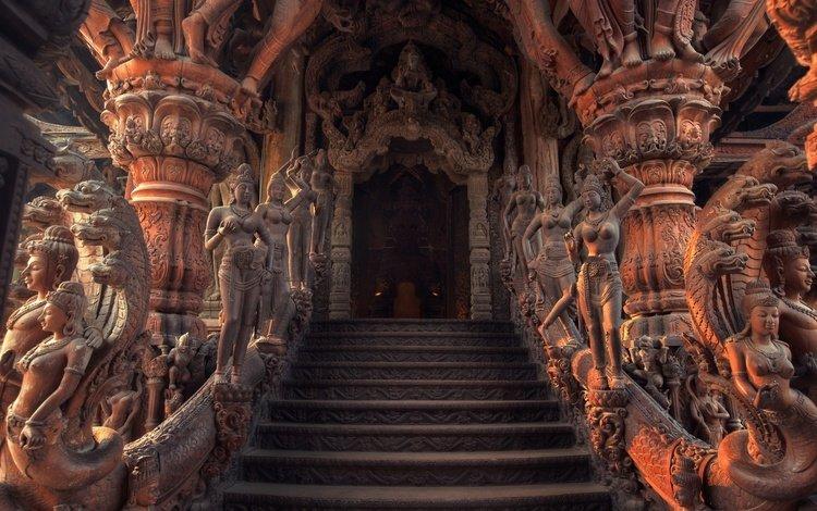 храм, лестница, скульптуры, таиланд, вход, храм истины, паттайя, temple, ladder, sculpture, thailand, entrance, the sanctuary of truth, pattaya