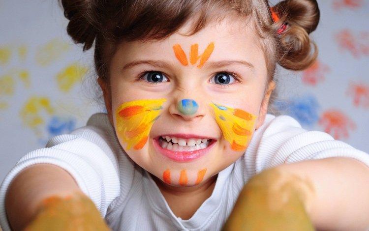 дети, краска, девочка, волосы, лицо, зубы, ребенок, малышка, children, paint, girl, hair, face, teeth, child, baby