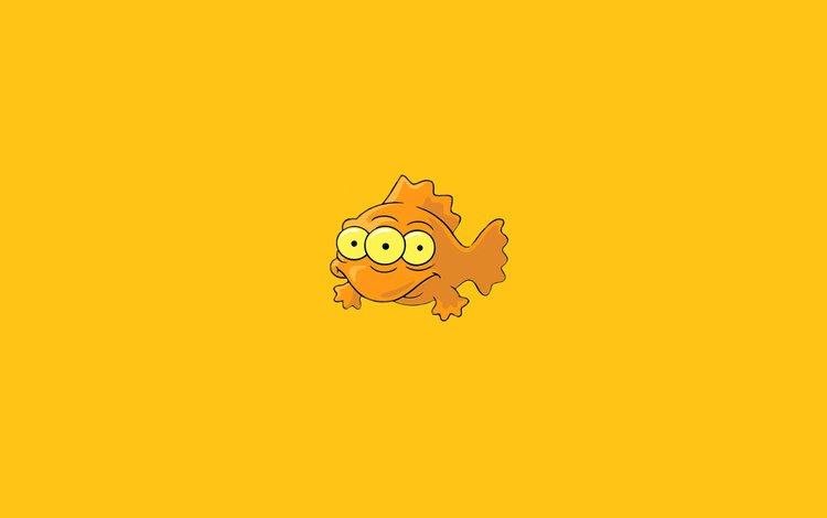 minimalism, orange, fish, the simpsons, simpsons, three eyes