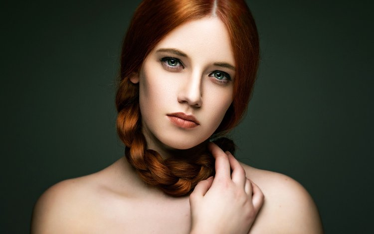 девушка, рыжеволосая, портрет, karole, взгляд, рыжая, модель, волосы, лицо, коса, girl, redhead, portrait, look, red, model, hair, face, braid