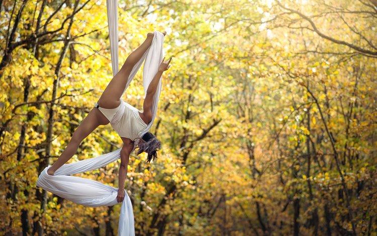 nature, girl, autumn, sport, twine
