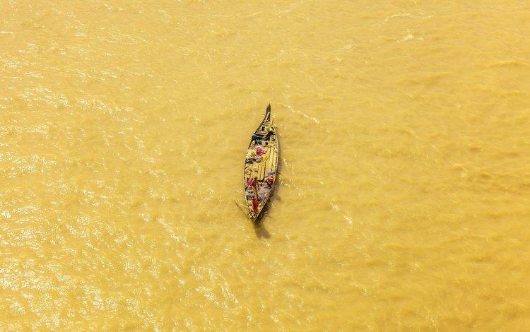 река, лодка, рыболов, river, boat, angler