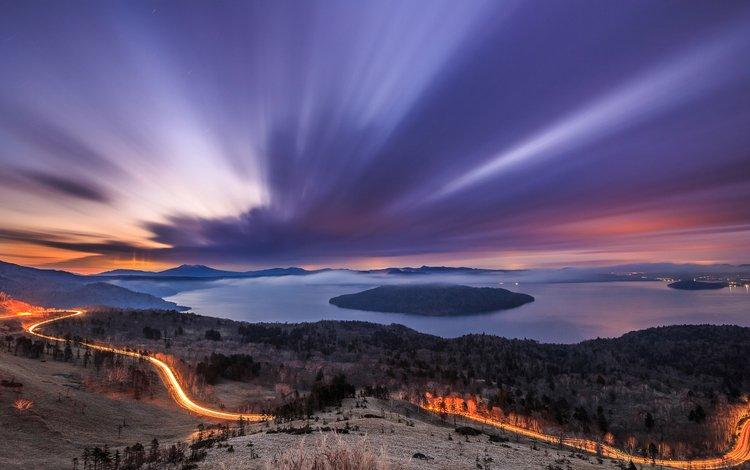 light, trees, snow, sunset, winter, track