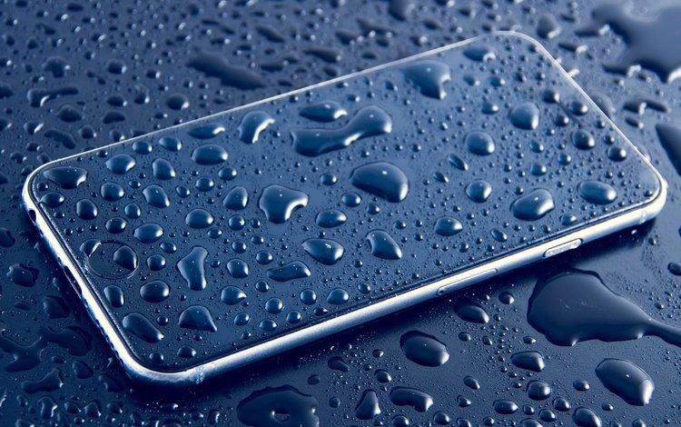 water, drops, phone, smartphone, apple, iphone 6s