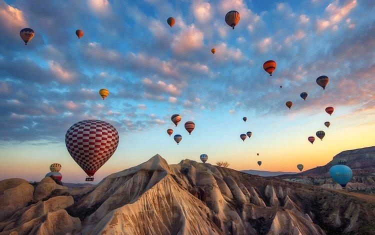 небо, облака, горы, воздушные шары, турция, the sky, clouds, mountains, balloons, turkey