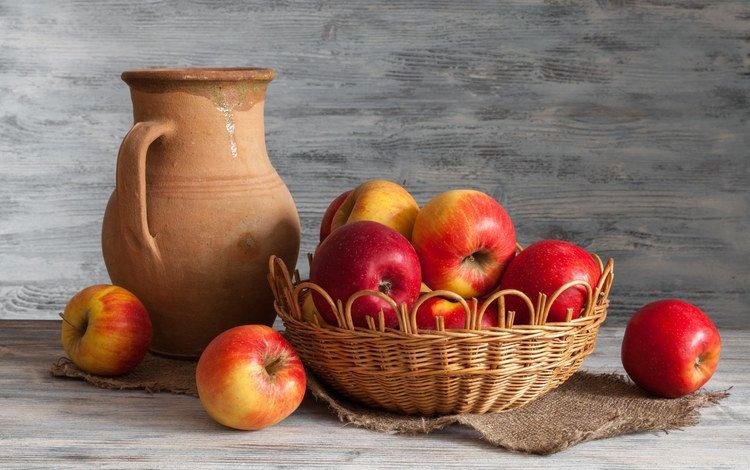 фрукты, яблоки, корзина, кувшин, натюрморт, мешковина, fruit, apples, basket, pitcher, still life, burlap