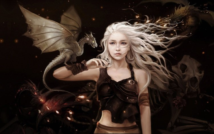 art, girl, fantasy, rose, dragon, game of thrones, a song of ice and fire, daenerys targaryen, game of thones