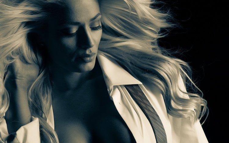 blonde, portrait, model, hair, monochrome, dawn beuner