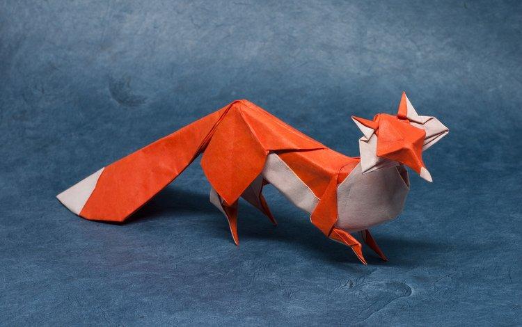 бумага, лиса, хищник, оригами, лисица, paper, fox, predator, origami
