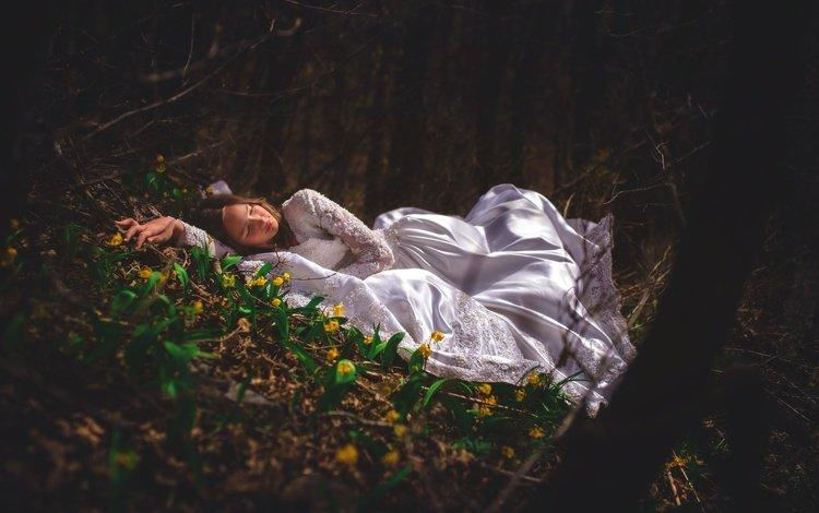 flowers, forest, girl, dress, the situation, sleep, sleeping beauty