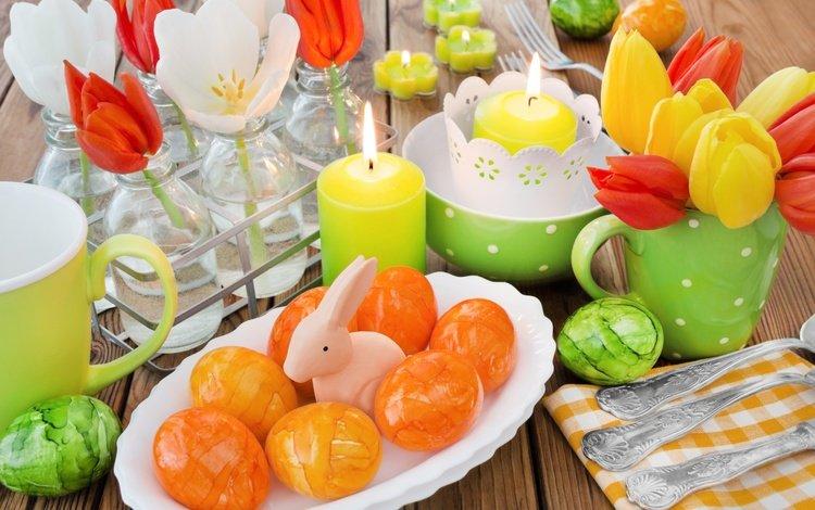 цветы, декорация, свечи, довольная, весна, зайка, корзина, delicate, тюльпаны, пасха, пастель, глазунья, flowers, decoration, candles, happy, spring, bunny, basket, tulips, easter, pastel, eggs