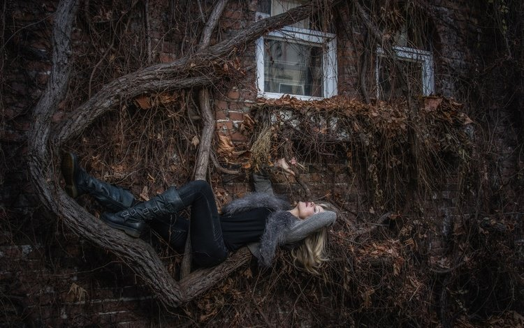 tree, girl, pose, blonde, house, thickets