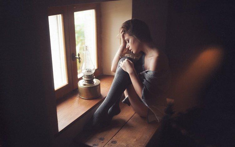 девушка, настроение, лампа, сидит, окно, girl, mood, lamp, sitting, window