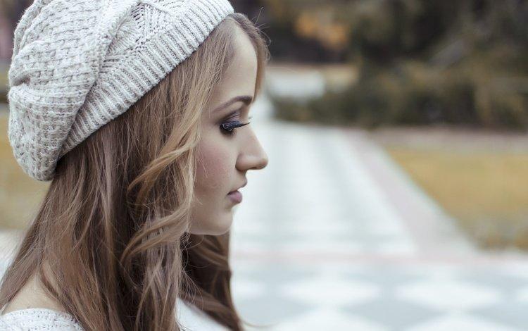девушка, волосы, шапочка, lorena veas, girl, hair, cap