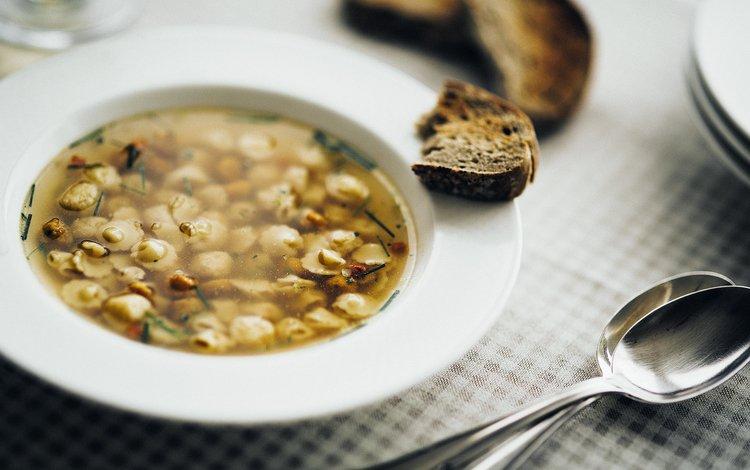 хлеб, тарелка, ложка, суп, bread, plate, spoon, soup