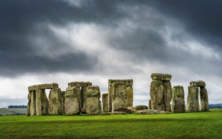 небо, трава, камни, птицы, англия, стоунхендж, the sky, grass, stones, birds, england, stonehenge