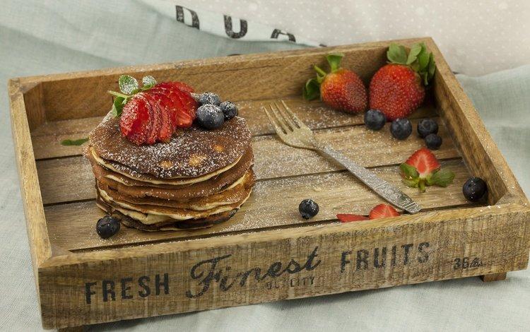 клубника, вилка, ягоды, черника, блины, strawberry, plug, berries, blueberries, pancakes