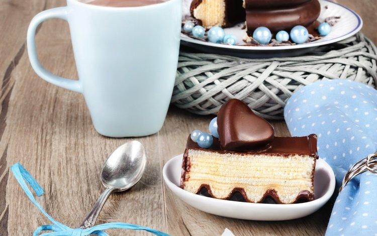 напиток, ложка, кофе, пирожное, глазурь., сердце, чашка, шоколад, сладкое, торт, десерт, drink, spoon, coffee, glaze., heart, cup, chocolate, sweet, cake, dessert