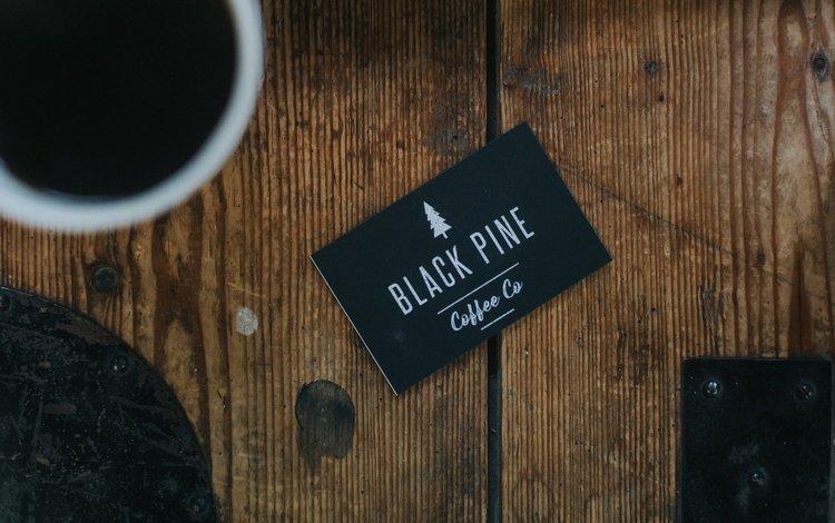 coffee, cup, card, black pine