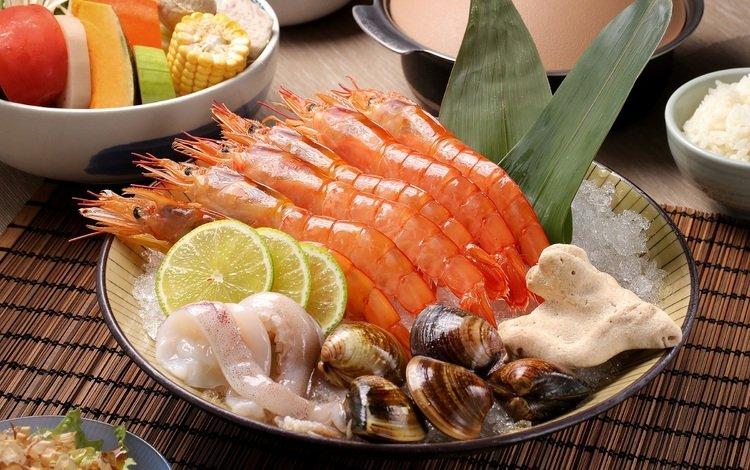 лимон, овощи, морепродукты, креветки, кальмары, моллюски, lemon, vegetables, seafood, shrimp, squid, shellfish