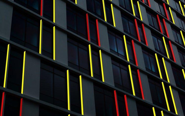 линии, стена, красные, желтые, line, wall, red, yellow