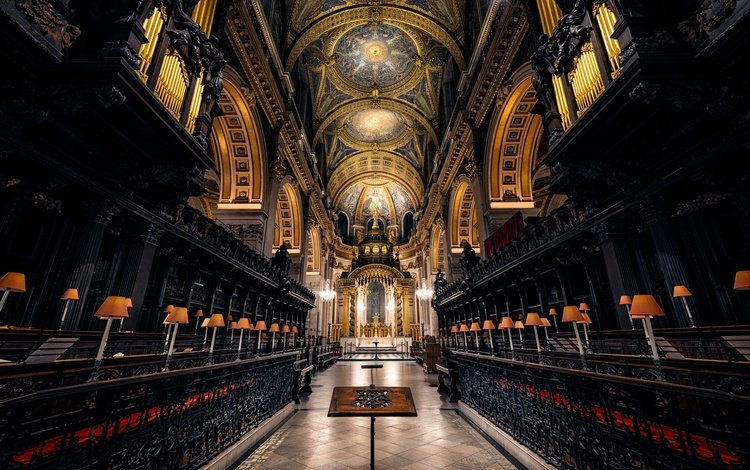 лондон, англия, архитектура, религия, неф, собор святого павла, london, england, architecture, religion, the nave, st. paul's cathedral