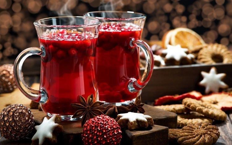 напиток, печенье, специи, глинтвейн, клюква, drink, cookies, spices, mulled wine, cranberry