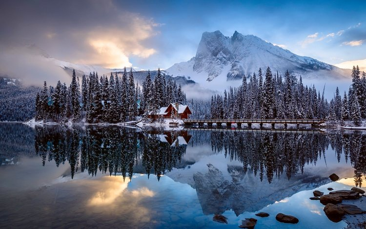 clouds, water, mountains, the bridge, forest, winter, reflection, house