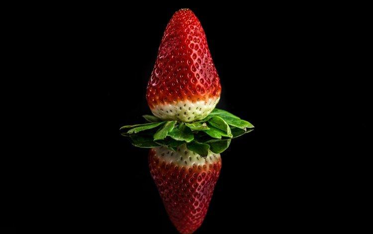 отражение, ягода, клубника, черный фон, reflection, berry, strawberry, black background