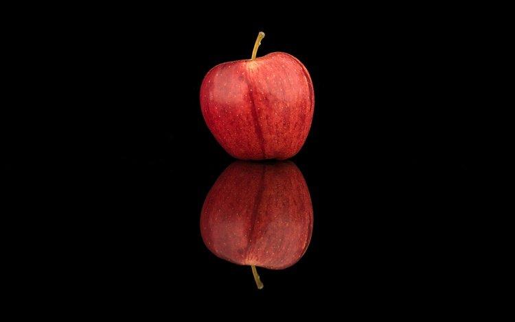 отражение, фрукты, минимализм, черный фон, яблоко, reflection, fruit, minimalism, black background, apple